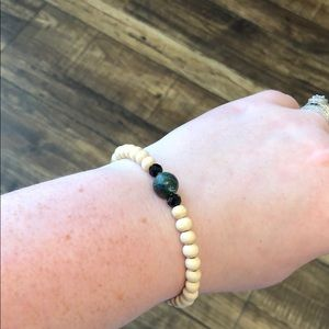 Natural Wood Bead Essential Oil Diffuser Bracelet